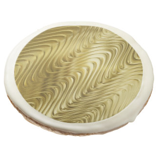 PURE GOLD pattern / waves + your photo & text Sugar Cookie