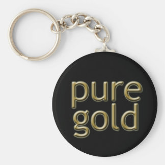 """Pure Gold"" Saying Basic Round Button Keychain"