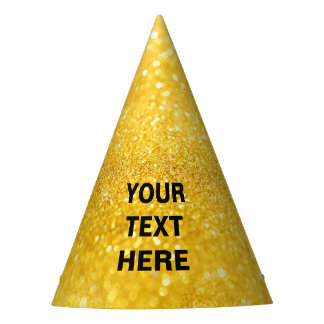 PURE GOLD Sparkles Pattern + your text / photo Party Hat