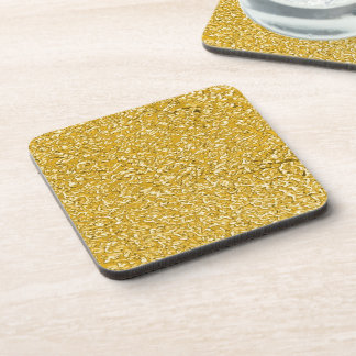 PURE GOLD Splatter Pattern + your text / photo Beverage Coaster