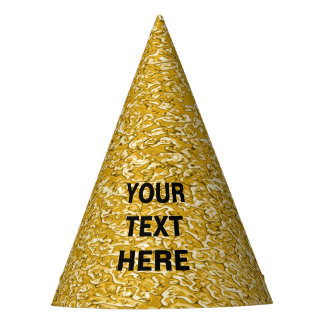 PURE GOLD Splatter Pattern + your text / photo Party Hat
