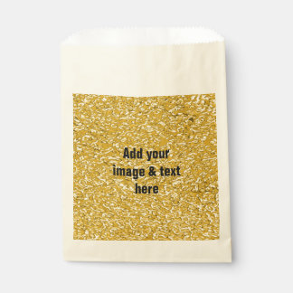 PURE GOLD Splatter Pattern + your text / photo Favor Bags
