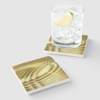 PURE GOLDEN WAVES soft Pattern + your text / photo Stone Coaster