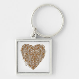 PURE Heart - Gold n Silver Engraved design Keychain