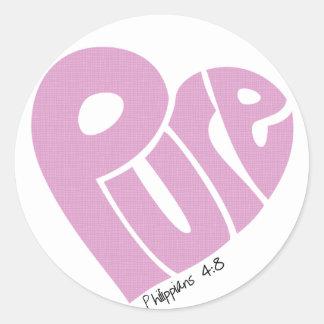 PURE Heart Pink Classic Round Sticker