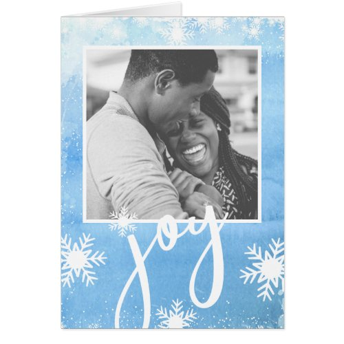Pure Joy Winter Watercolor Snowflake Holiday Photo Card Sales 7823