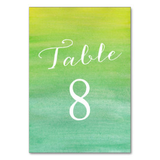 Pure Love Table Number Cards / Lime Emerald Table Card