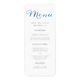 Pure Love Watercolor Wedding Menu / Ocean Blue 4x9.25 Paper Invitation Card