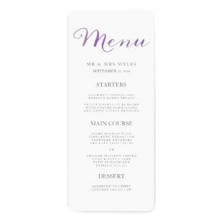 Pure Love Watercolor Wedding Menu / Violet 4x9.25 Paper Invitation Card