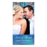 Pure Love / Watercolor Wedding Photo Card / Blue
