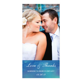 Pure Love / Watercolor Wedding Photo Card / Blue