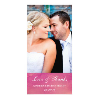 Pure Love / Watercolor Wedding Photo Card / Rose