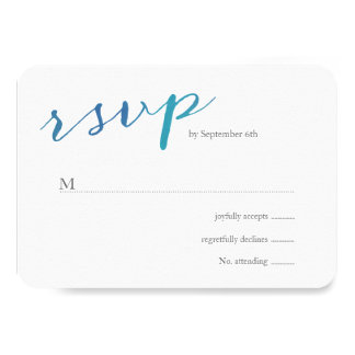 Pure Love Watercolor Wedding RSVP / Ocean Blue 3.5x5 Paper Invitation Card