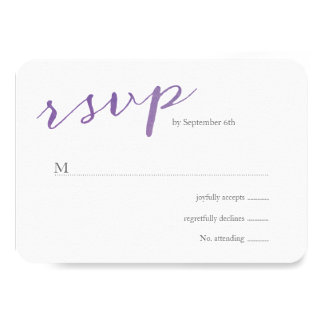 Pure Love Watercolor Wedding RSVP / Violet Card