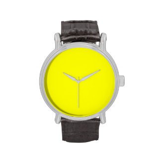 Pure Neon Yellow Color Trend Blank Template Wrist Watch