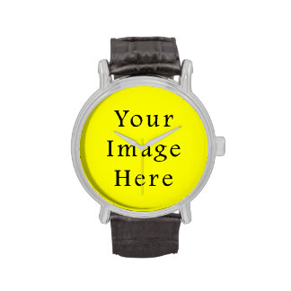 Pure Neon Yellow Color Trend Blank Template Wristwatch