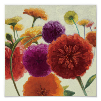 Pure Palette Zinnias Poster