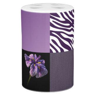 Puré púrpura del modelo de la raya de la cebra del conjuntos de baño