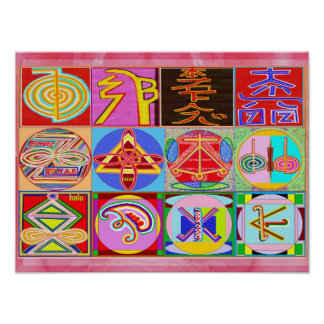 Pure REIKI Healing Art - 12 Symbols Poster