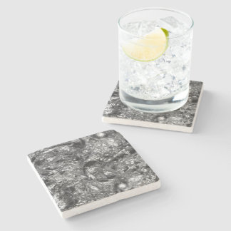 PURE  SILVER Abstract Pattern + your text / photo Stone Coaster