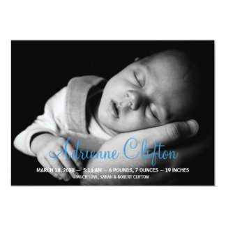 Pure simply blue baby statistic birth announcement