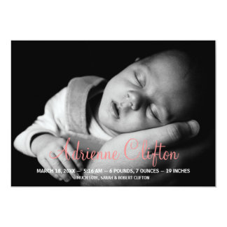 Pure simply pink baby statistic birth announcement