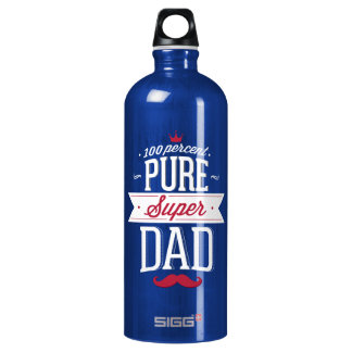 Pure Super Dad Moustache Red and White Aluminum Water Bottle