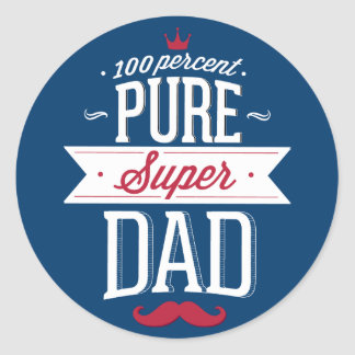 Pure Super Dad Moustache Red and White Classic Round Sticker