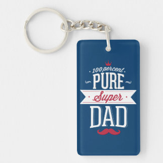 Pure Super Dad Moustache Red and White Double-Sided Rectangular Acrylic Keychain