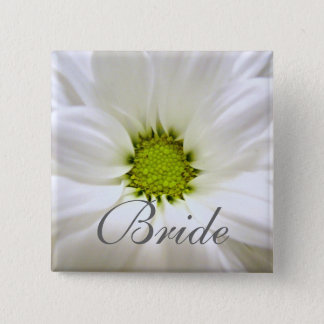 pure white daisy flower wedding pinback button