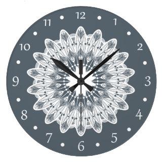 Pure White Lace Mandala Large Clock