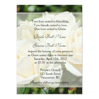 Pure white rose flowers Christian wedding 5.5x7.5 Paper Invitation Card