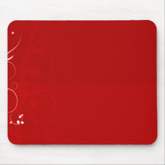 Pure white swirl on reddish background mouse pad