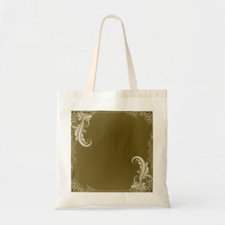 Pure White Swirls and floral on olive texture Tote Bag