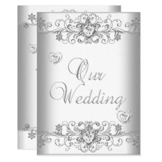 Pure White Wedding Silver Diamond Hearts Invitation