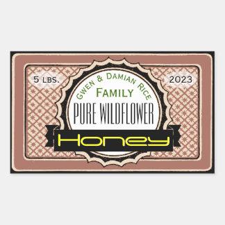 Pure Wildflower Customized Honey Jar Rectangular Sticker
