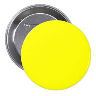 Pure Yellow - Neon Lemon Bright Template Blank 3 Inch Round Button