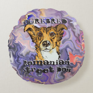 Purebred Romanian Street Dog Round Pillow