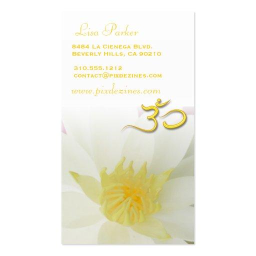 Pureza Lotus blanco, yoga de OM, curadores de Tarjetas De Visita