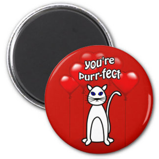 Purfect Cat Heart Balloons Valentine Magnet