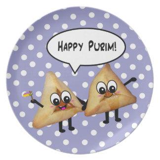 Purim feliz Hamantaschen - púrpura con los puntos  Platos