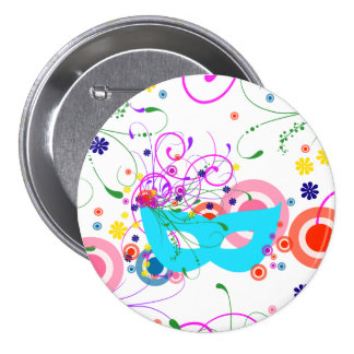 Purim Mask 3 Inch Round Button