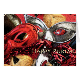 Purim Masks Hamantashen Card