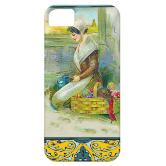 Puritan girl giving thanks, foodbasket iPhone SE/5/5s case