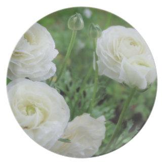 Purity White Roses Melamine Plate