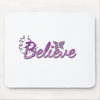 Purle Believe Butterfly glitter Mouse Pad