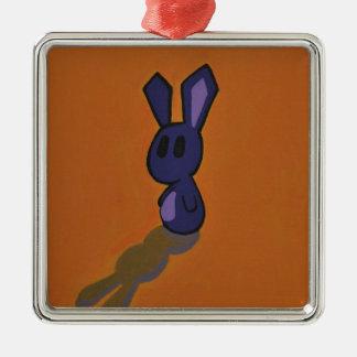 Purlpe & Yellow Bunny Metal Ornament