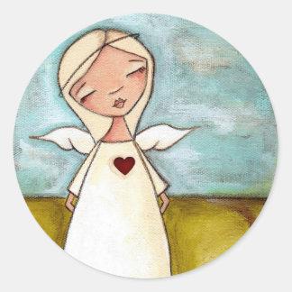 Puro del corazón - pegatinas del ángel pegatina redonda