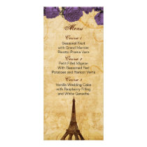 purp vintage eiffel tower Paris wedding menu cards