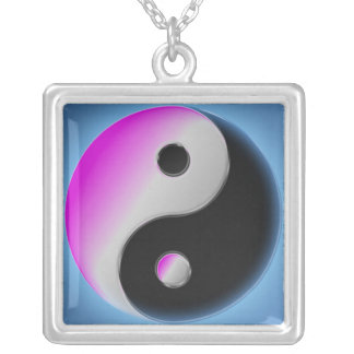 Purp Ying Yang Square Pendant Necklace